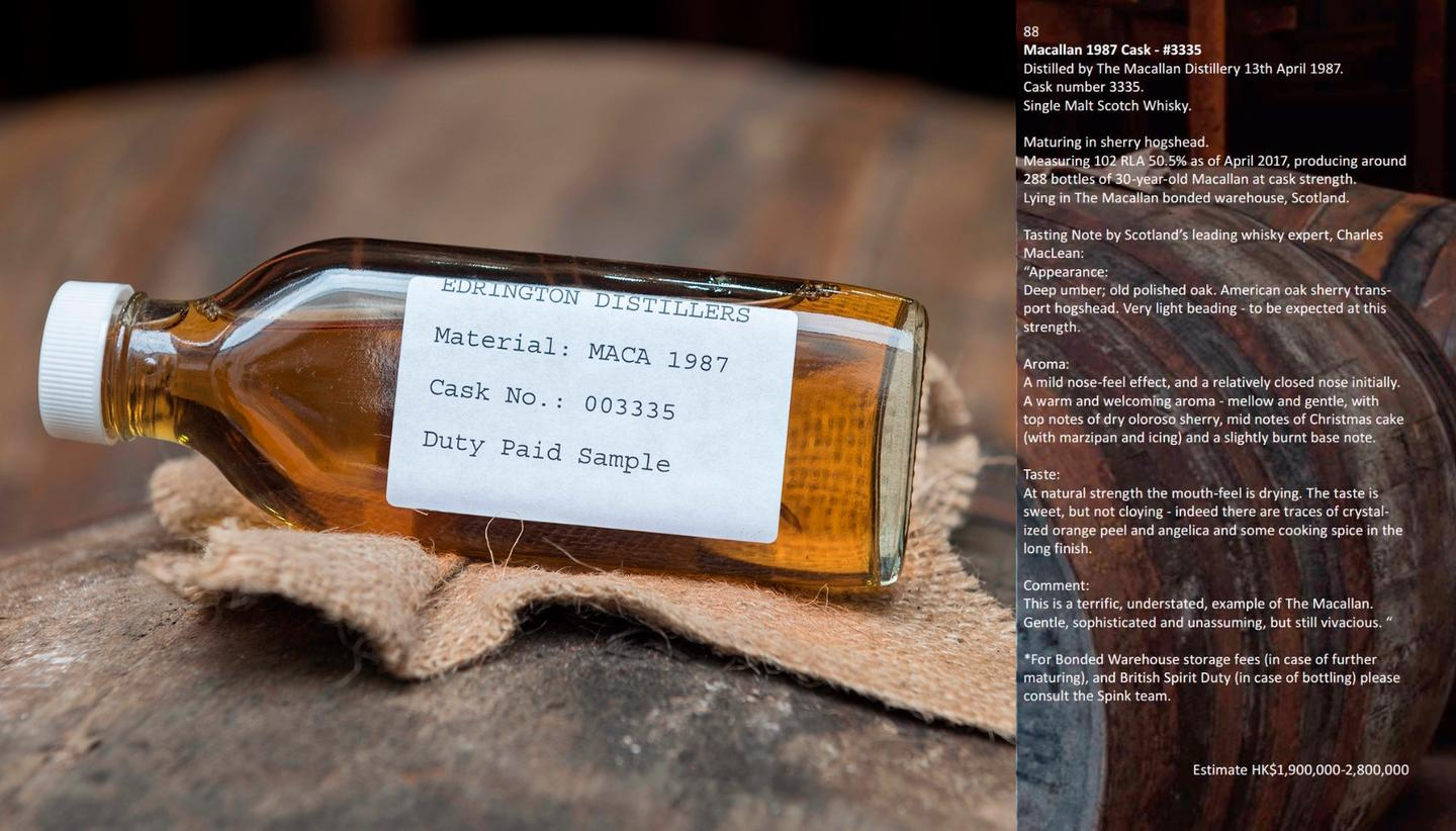 It should not be surprising that a cask of 1987 Macallan Single Malt Scotch Whisky fetched HK$2,928,00 ($375,064) at a Spinks auction in Hong Kong on October 4, setting a new record for a whisky cask at auction andraising the previous record of $251,864 by a staggering 50 percent. A sample of the whisky is at left, and tasting notes at right