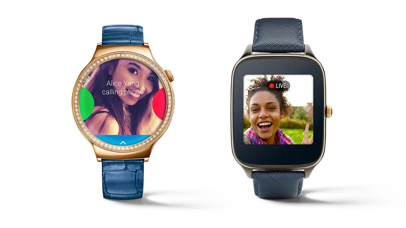 Only these two current Android Wear watches – the Huawei Watch (left) and Asus ZenWatch 2 – will support on-watch phone calls