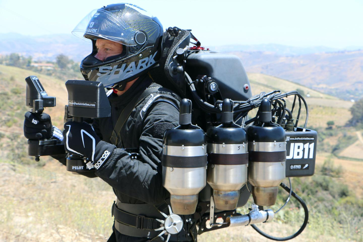 The JB-11 jetpack, a six-turbine monster from JetPack Aviation, which has sold two of a classified JB-12 model developed from this platform