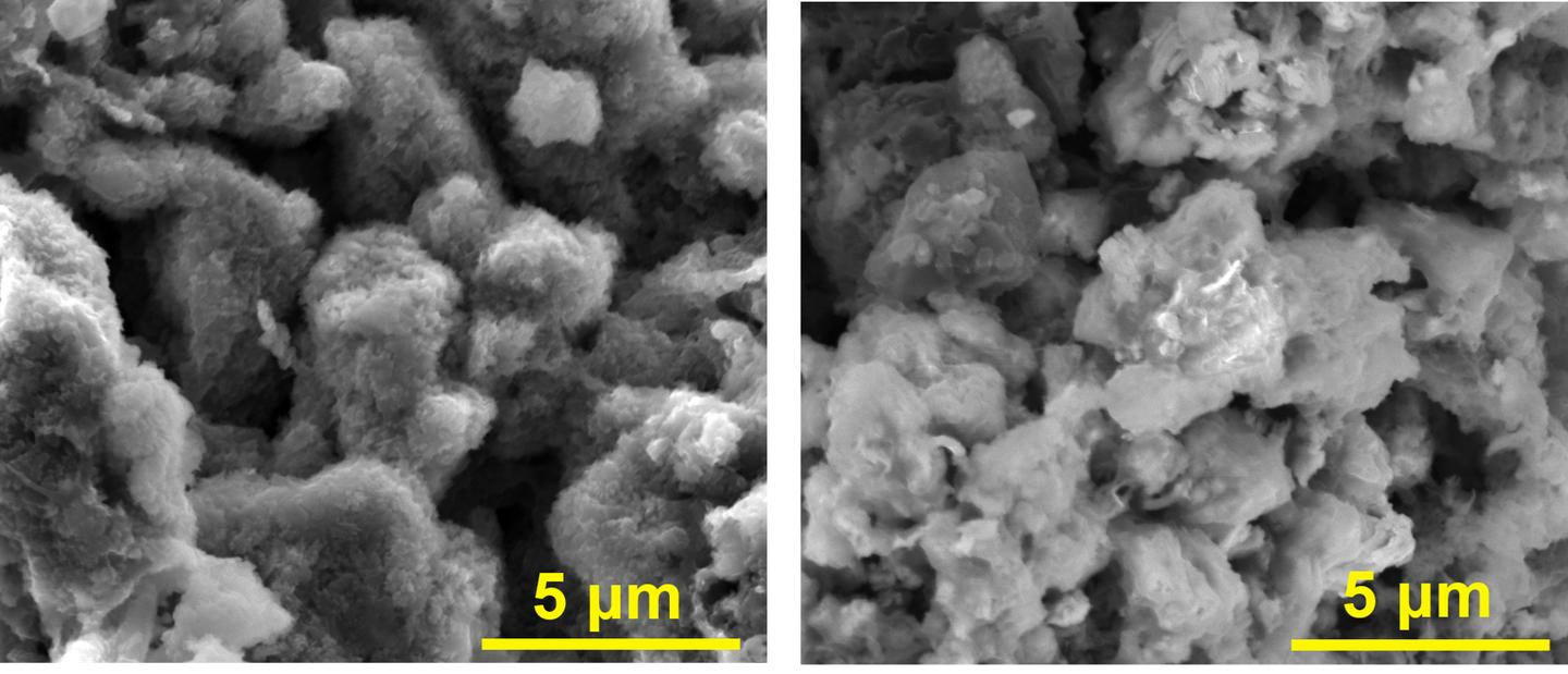 A scanning electron microscope of the new battery anode: left containing asphalt, graphene nanoribbons and lithium, while the right image only contains the asphalt and graphene