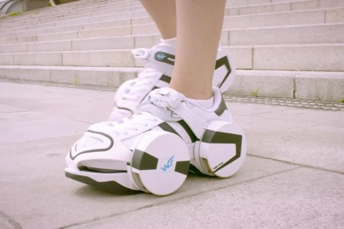 Walk Wings are strap-on roller skates with retractable wheels
