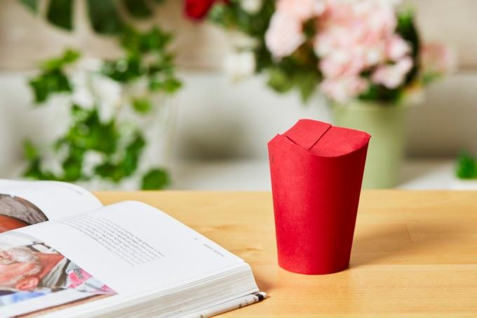The Unocup uses a paper folding design to give coffee drinkers a takeout option without the need for a plastic lid