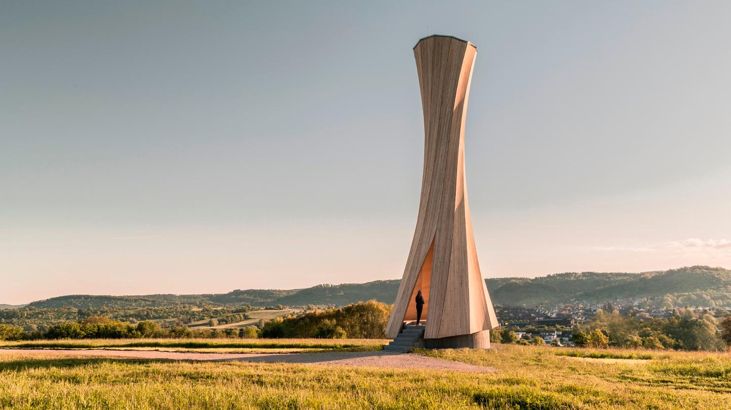 The Urbach Tower stands 14 meters tall