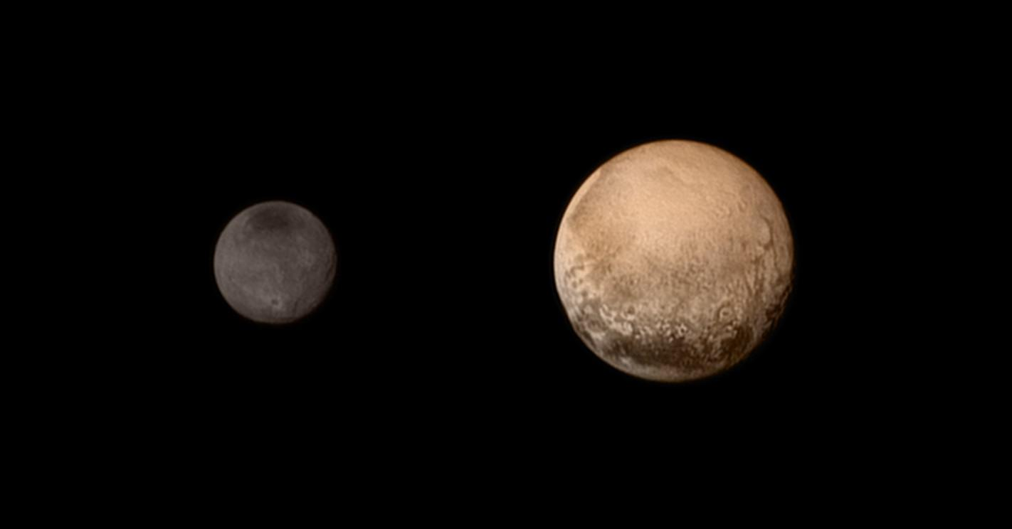 Pluto and Charon as seen from New Horizons