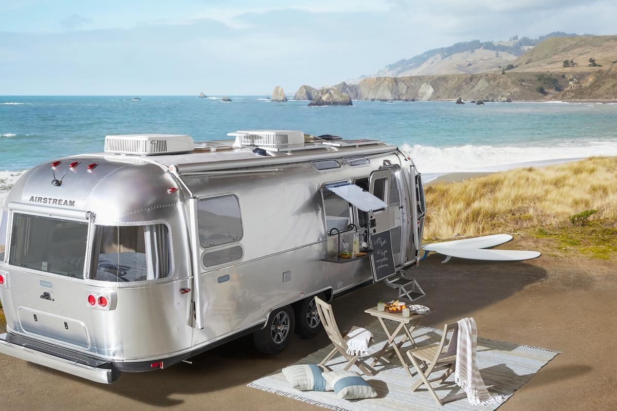 Airstream tries to up its glamping game by teaming with Pottery Barn on a fancier version of its silver bullet trailer