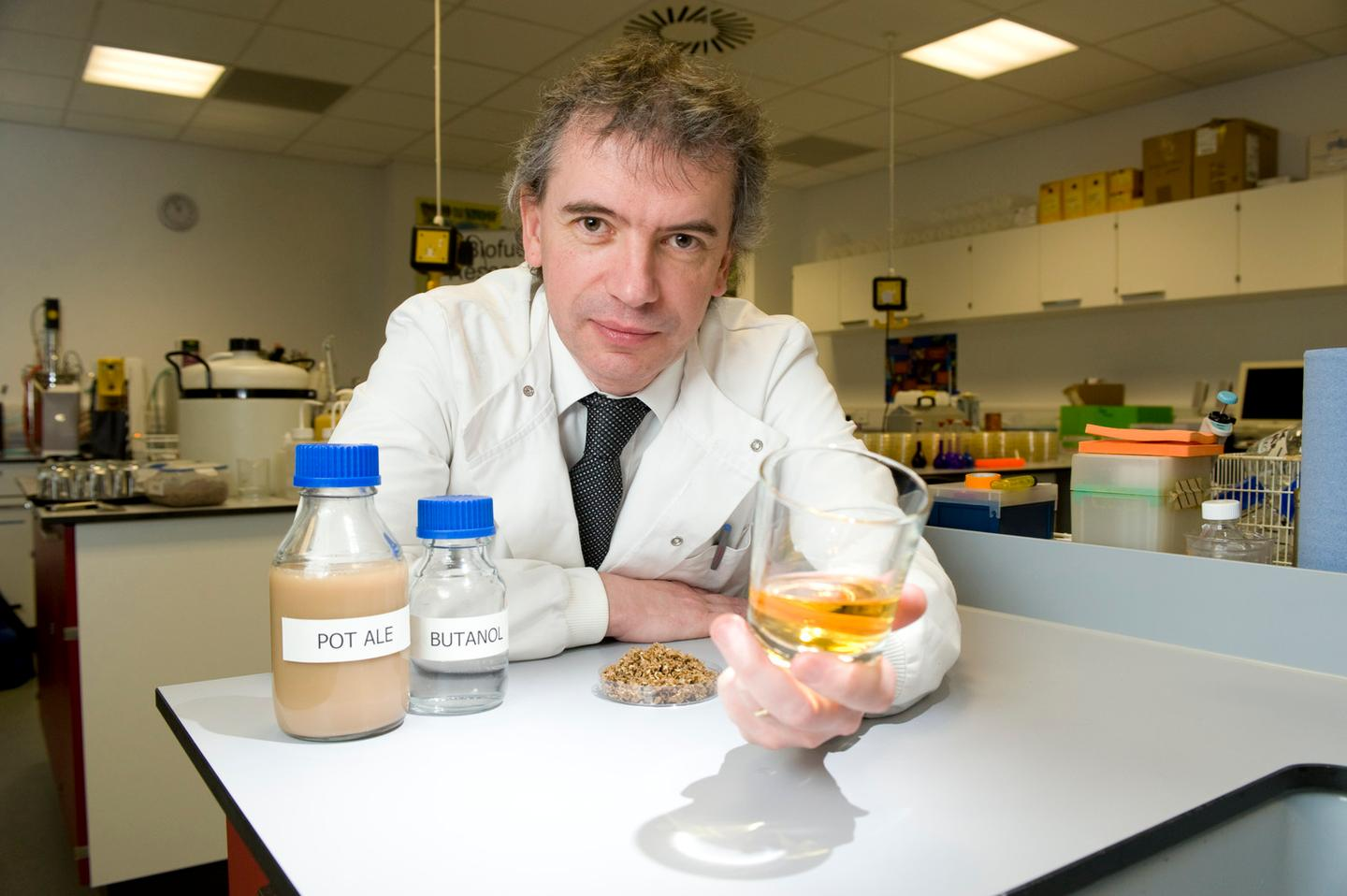 Celtic Renewables founder Martin Tangney with whisky by-products