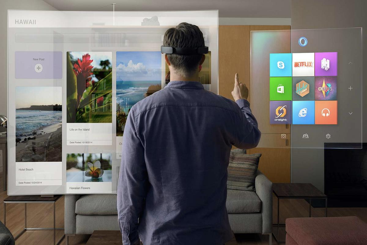 At today's Windows 10 event, Microsoft showed off an AR headset that makes it look like virtual objects are living in your physical environment