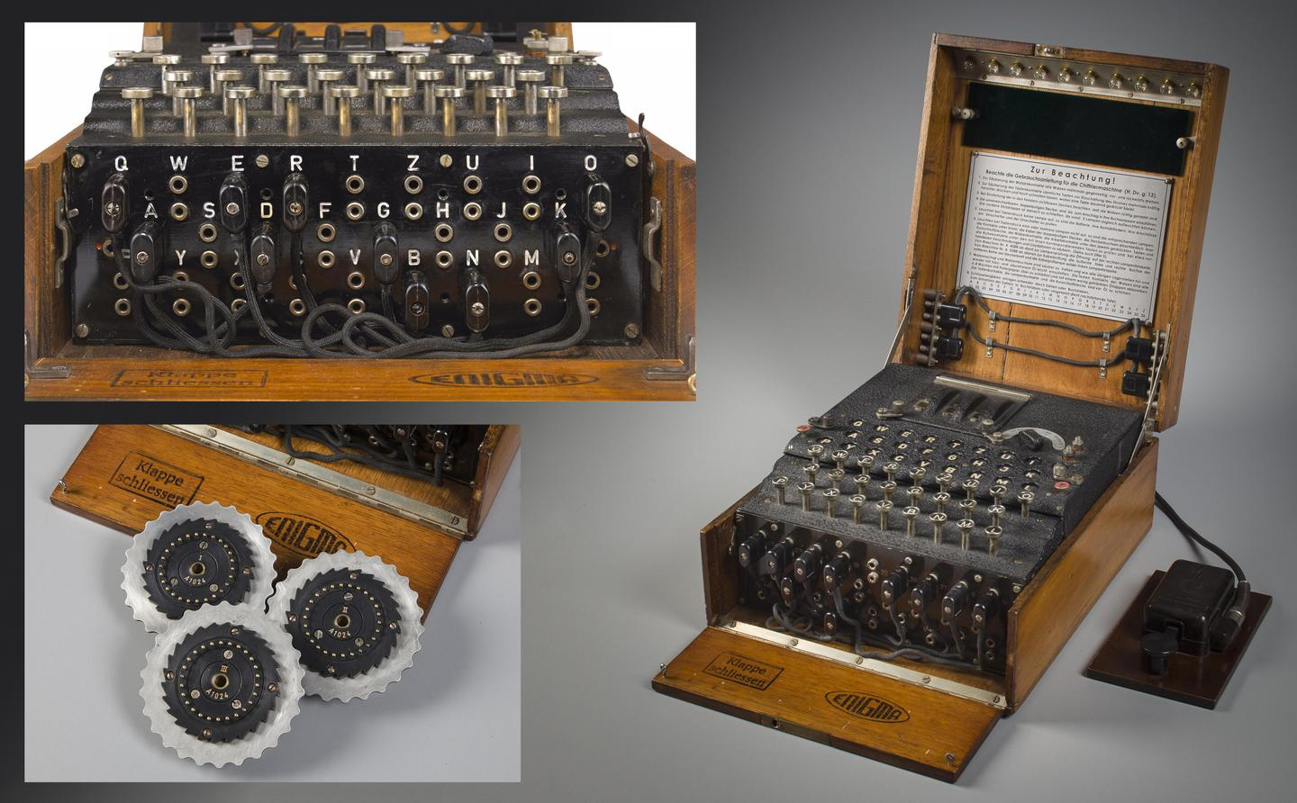 """At Bletchley Park, Turing worked on an electromechanical device designed to facilitate the deciphering of messages created by theGerman Enigma cypher machines. Named the """"bombe"""" in deference to its predecessor, the Bomba Kryptologiczna which was created by the Polish Cipher Bureau, Turing's own device improved on the Polish machine and through its various iterations became one of the premier code breaking weapons in the armory of the Allies, allowing the deciphering of many vital messages sent by Axis powers."""
