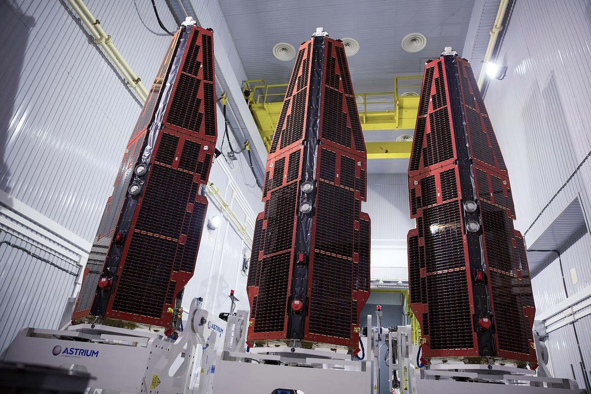 The Swarm satellites being prepared for launch (Photo: ESA)