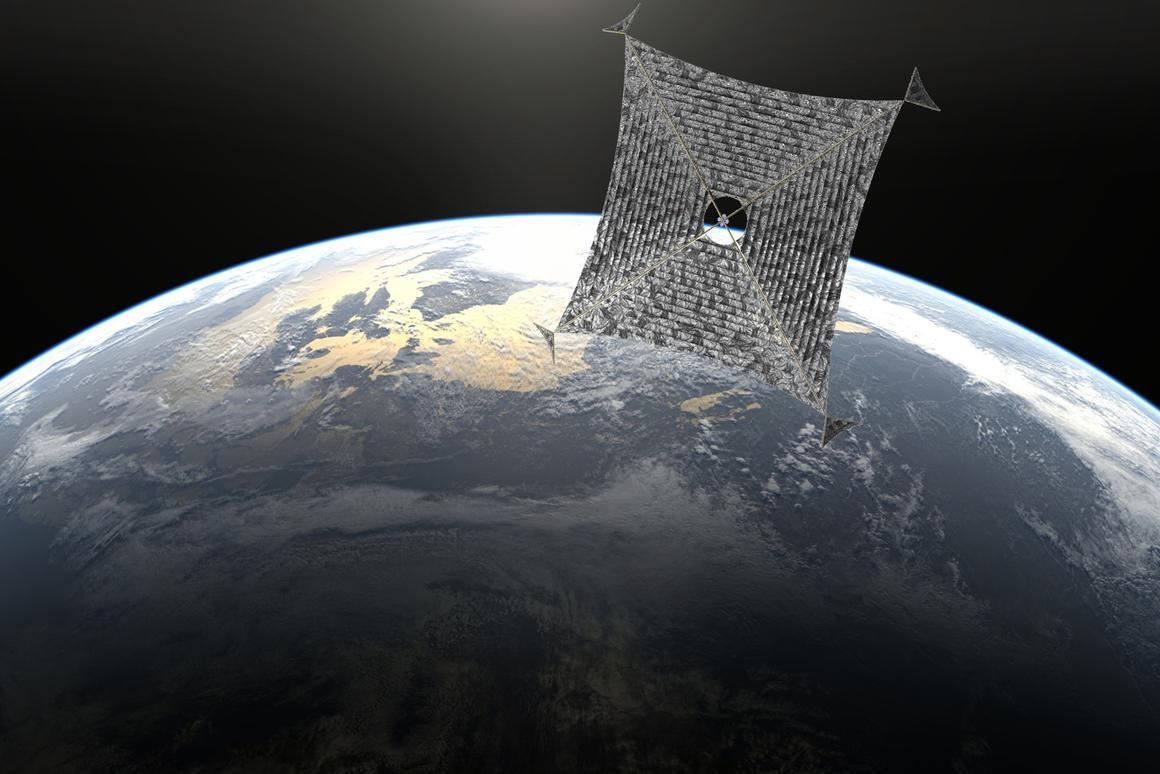 Artist's depiction of the Sunjammer spacecraft leaving Earth orbit