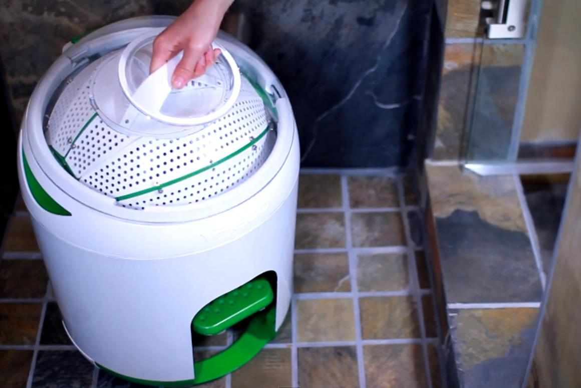 The Yirego Drumi is a compact foot-pedal-powered washing machine