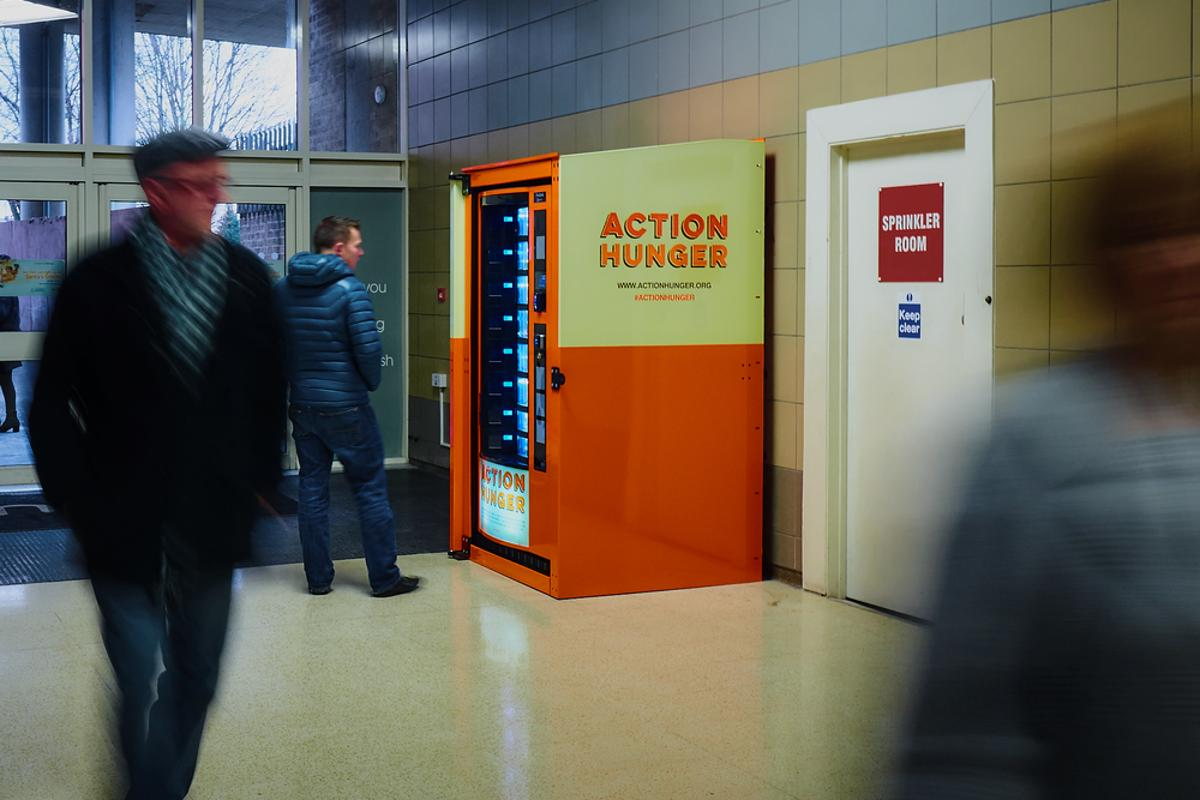 The Action Hunger vending machine started a month-long trial at the Broadmarsh shopping center in Nottingham on December 19