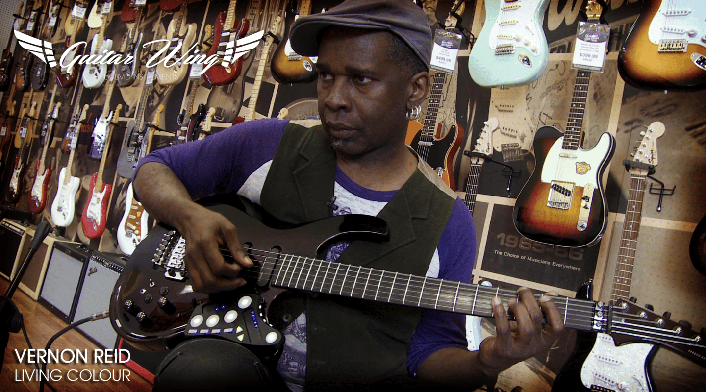 Living Colour's Vernon Reid demonstrating the Guitar wing on a Parker guitar