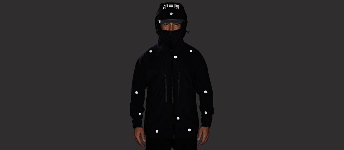 Vollebak's Black Light jacket, as seen when reflecting
