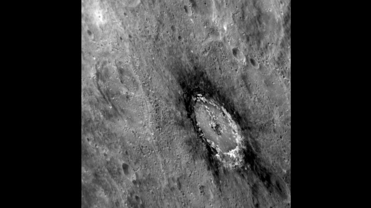 Scientists from the Carnegie Institute used MESSENGER data to confirm the presence of carbon in dark areas of Mercury's surface, such as around the Basho crater (pictured)