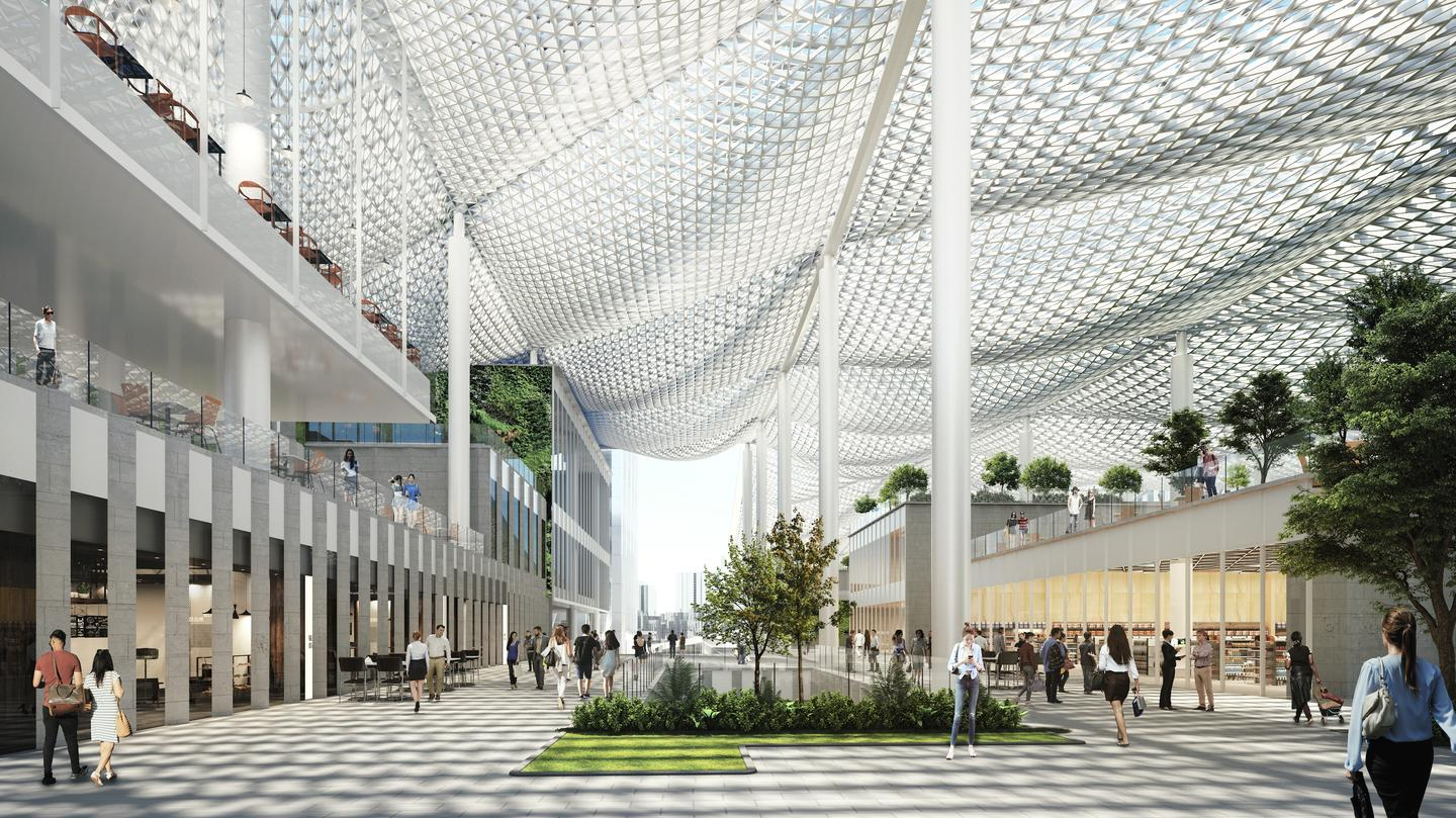 Jiuzhou Bay will feature five canopies that create a series of covered pedestrian alleyways and courtyard areas along the waterfront