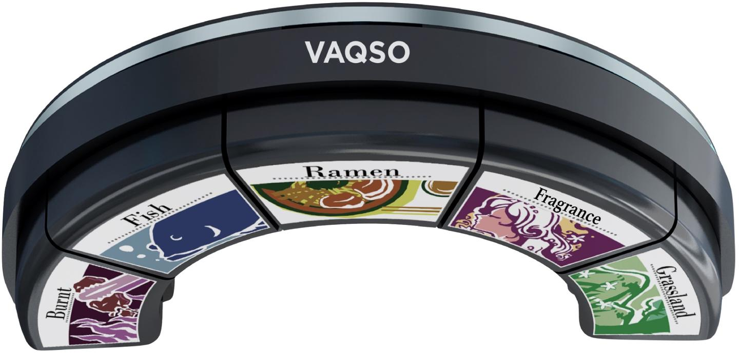 The main Vaqso unit contains five replaceable cartridges, each of which is loaded with one of 15 currently-available scented oils