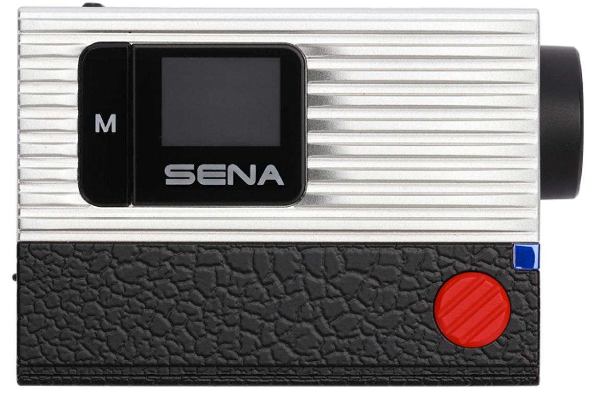 The Sena Prism mounts on a motorbike and can be controlled using a Bluetooth headset