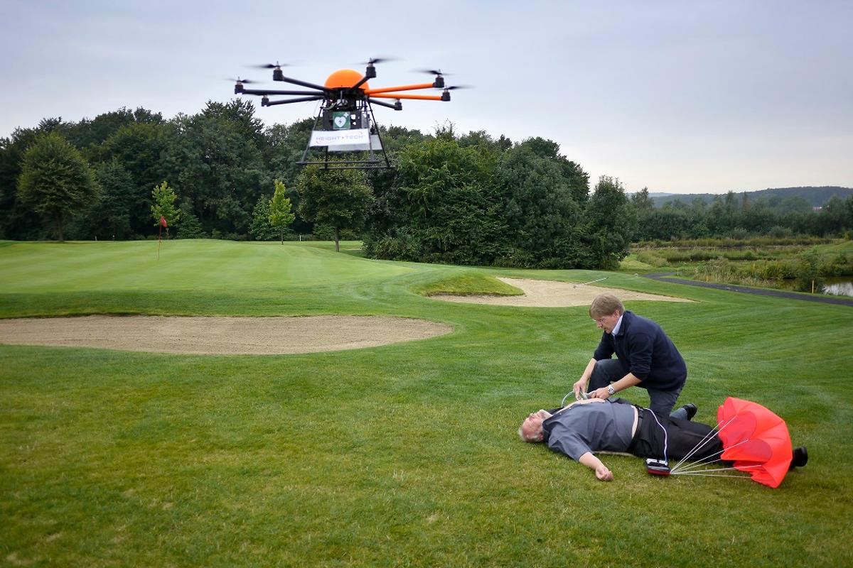 The Defikopter is a UAV that can be activated by a smartphone app to automatically take to the skies and drop a defibrillator to medical personnel on the ground