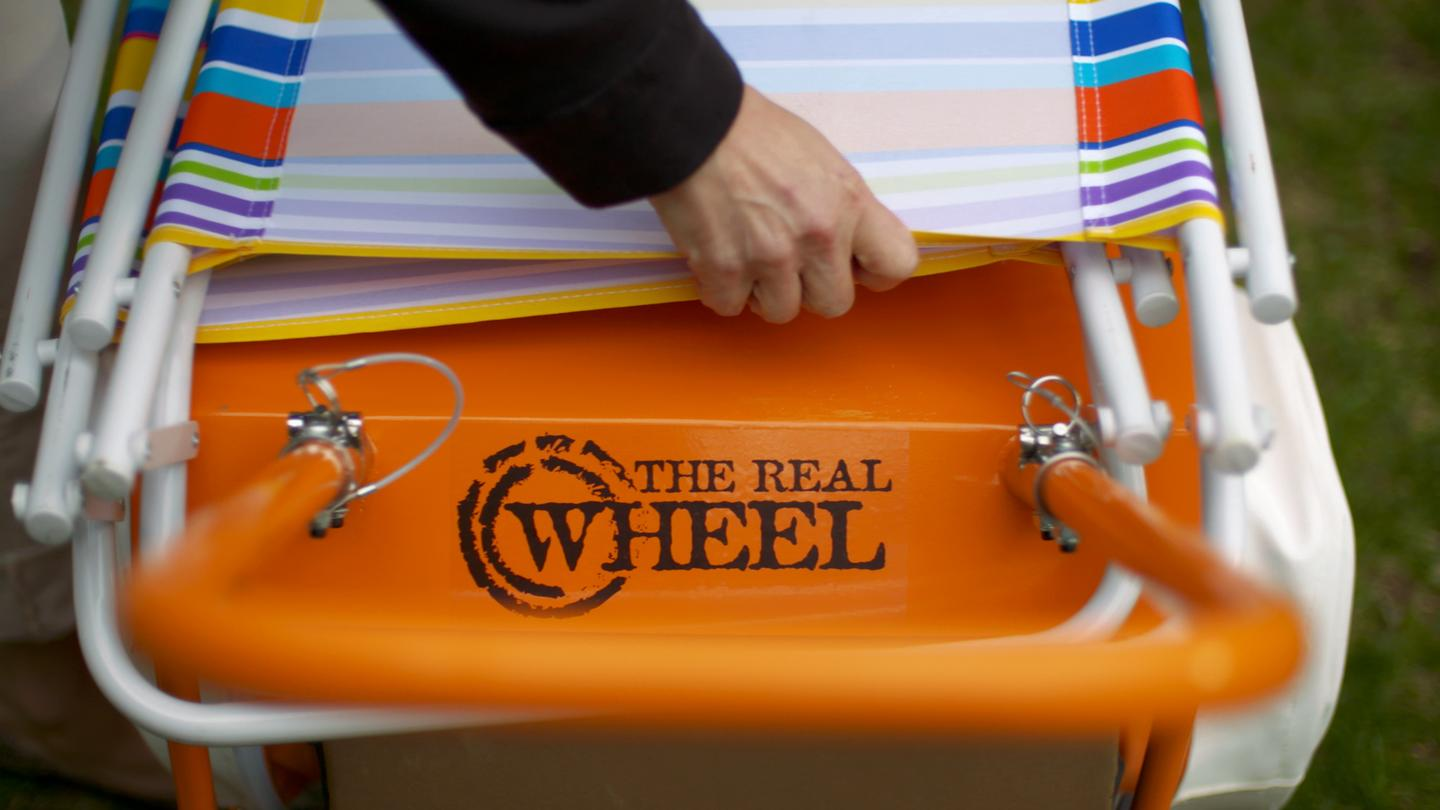 The Wheel's flat top can be used to stack and haul additional gear