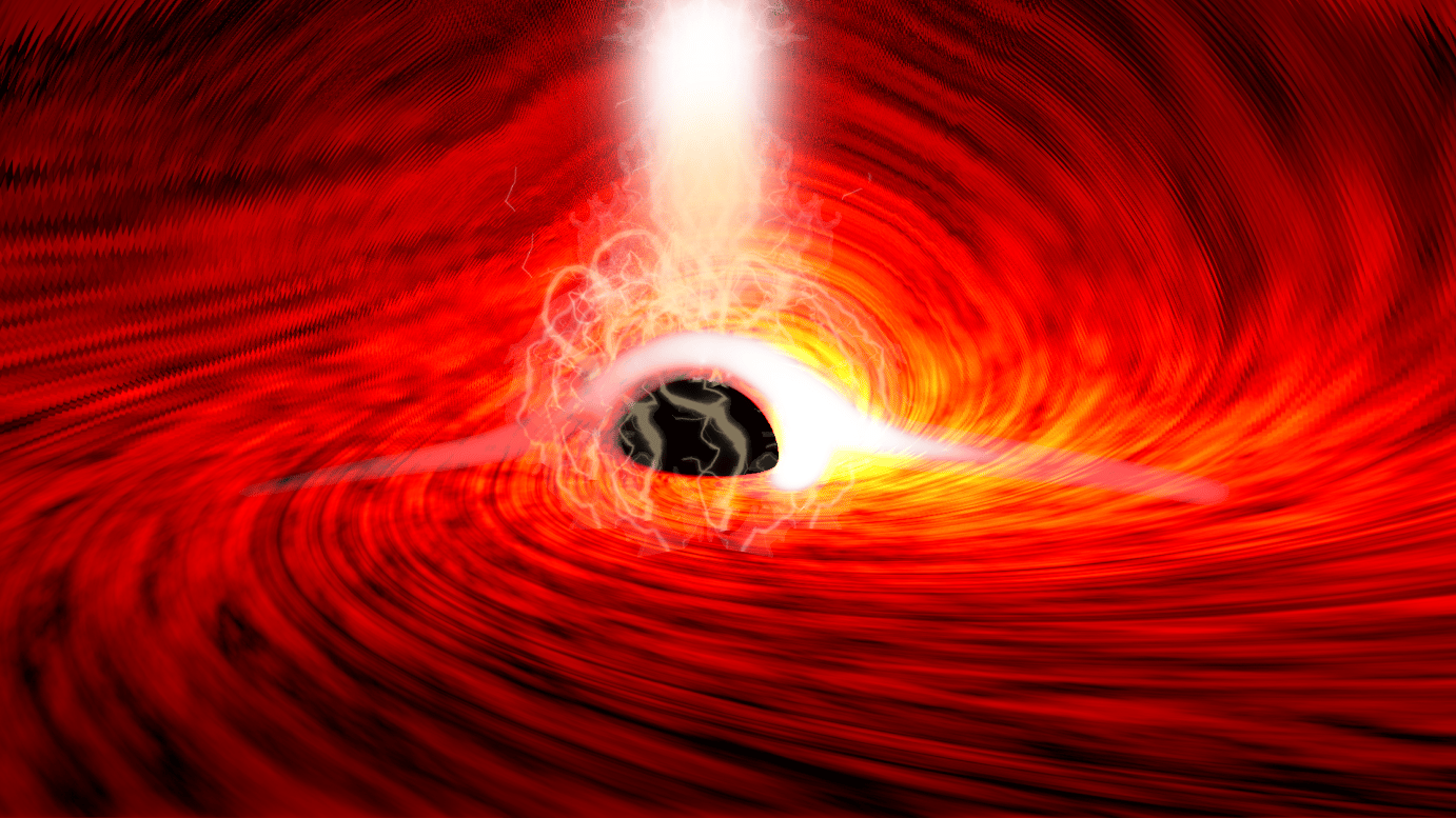 An artist's illustration of the supermassive black hole, surrounded by a disc of magnetized plasma, throwing off X-ray flares. Reflections of those flares have now been detected coming from the far side of the black hole