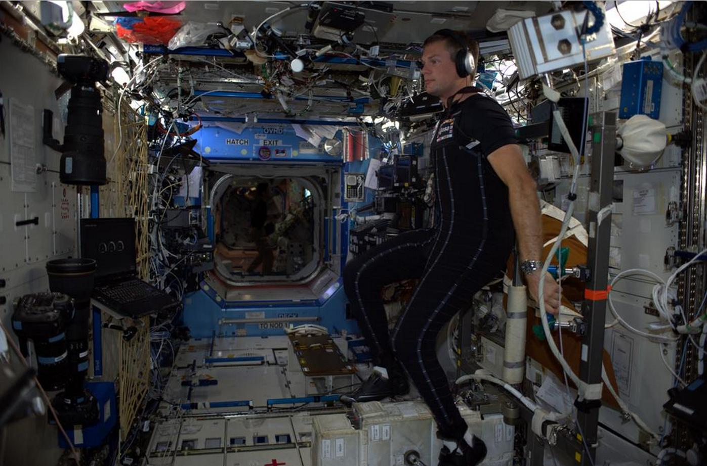 European Space Agency astronaut Andreas Mogensen wearing the SkinSuit on board the International Space Station