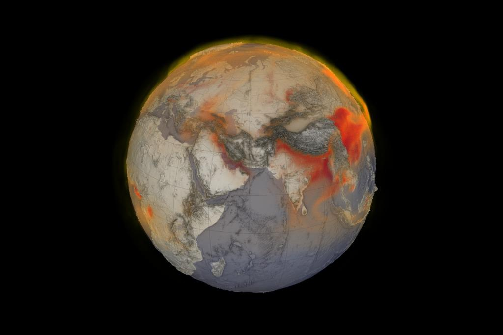 Visualization of global methane in the atmosphere on January 26, 2018, with higher concentrations seen in red