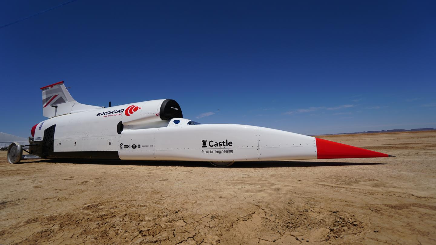 The Bloodhound LSR supersonic car is in South Africa for speed and stability testing