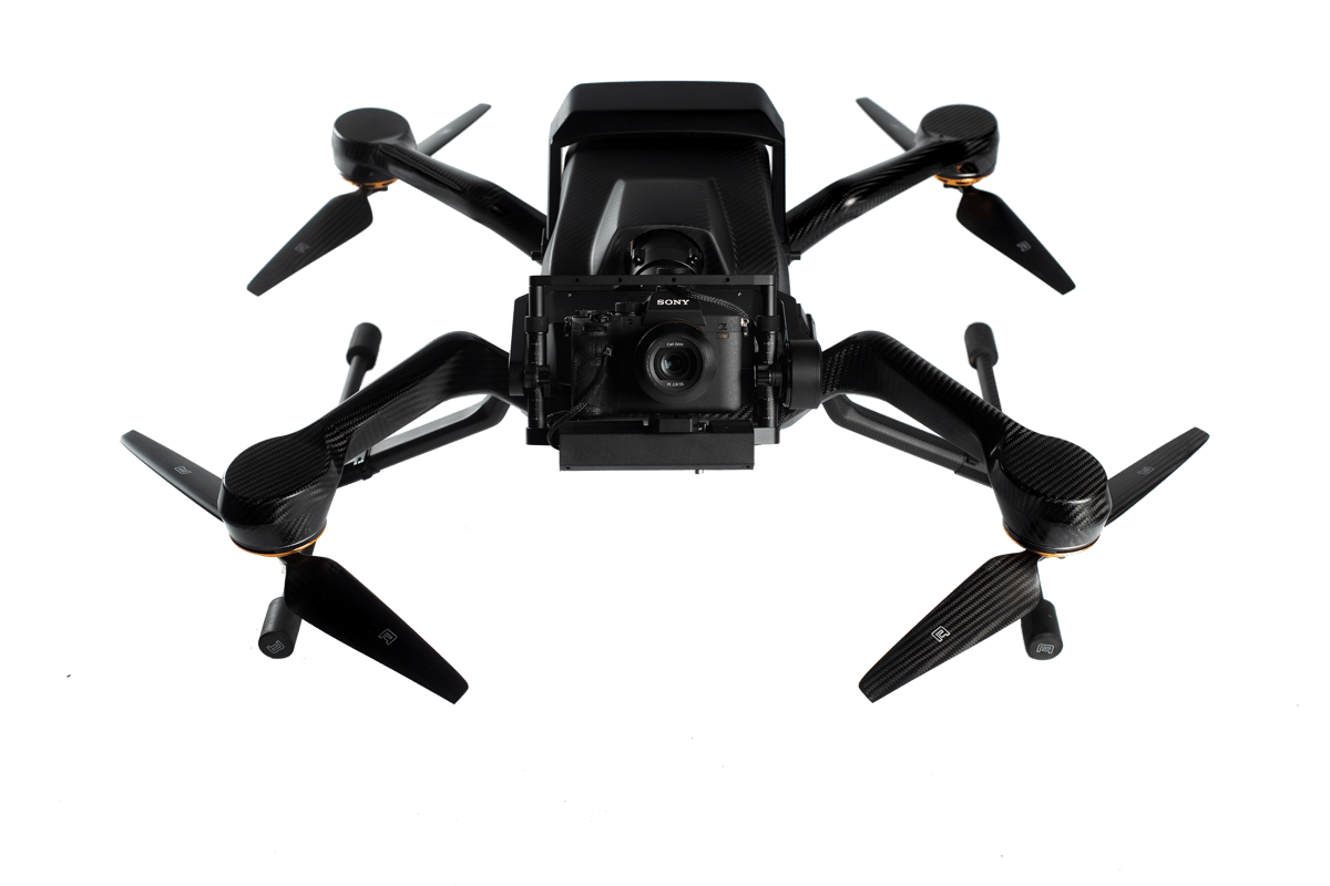 The Zoe Zetona shown here with a Sony A7R III camera payload mounted to a custom 2-axis gimbal