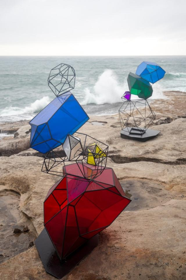 Sculpture by the Sea: Cairn, human-made stones in the form of colored perspex, by Alessandra Rossi