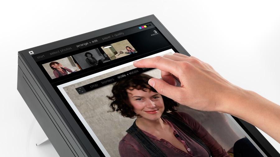 SWYP's touchscreen interface allows users to load an image or document, crop or rotate it and finally initiate printing