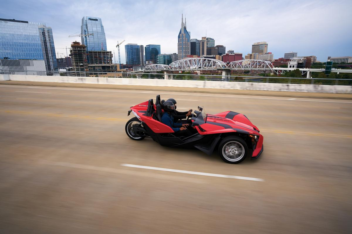 The 2021 Polaris Slingshot debuts with a new transmission upgrade, to go with its Batmobile looks