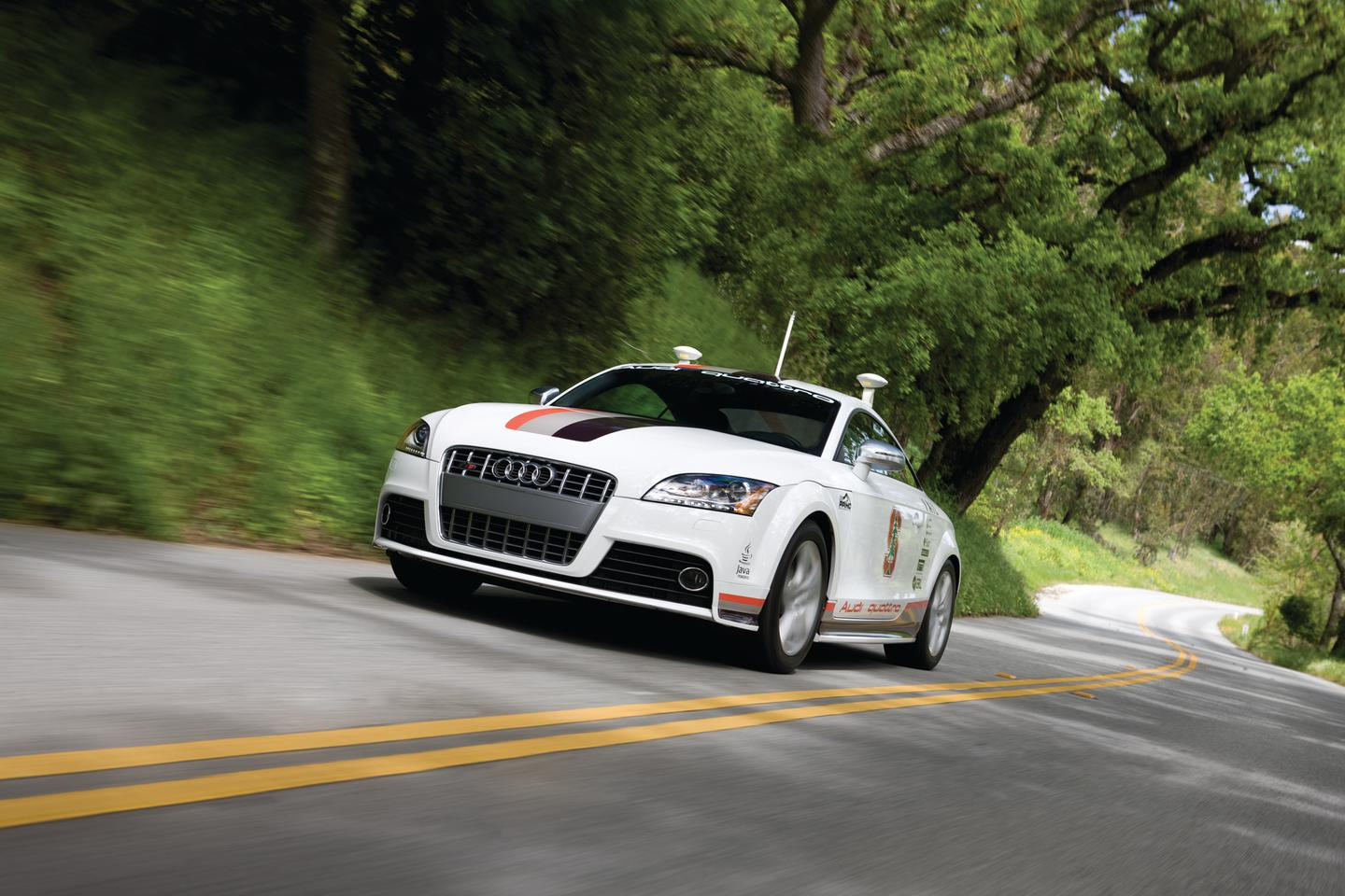Audi's Autonomous TTS Pikes Peak research car could soon be sporting exclusive red license plates that allow it to drive on Nevada's public roads