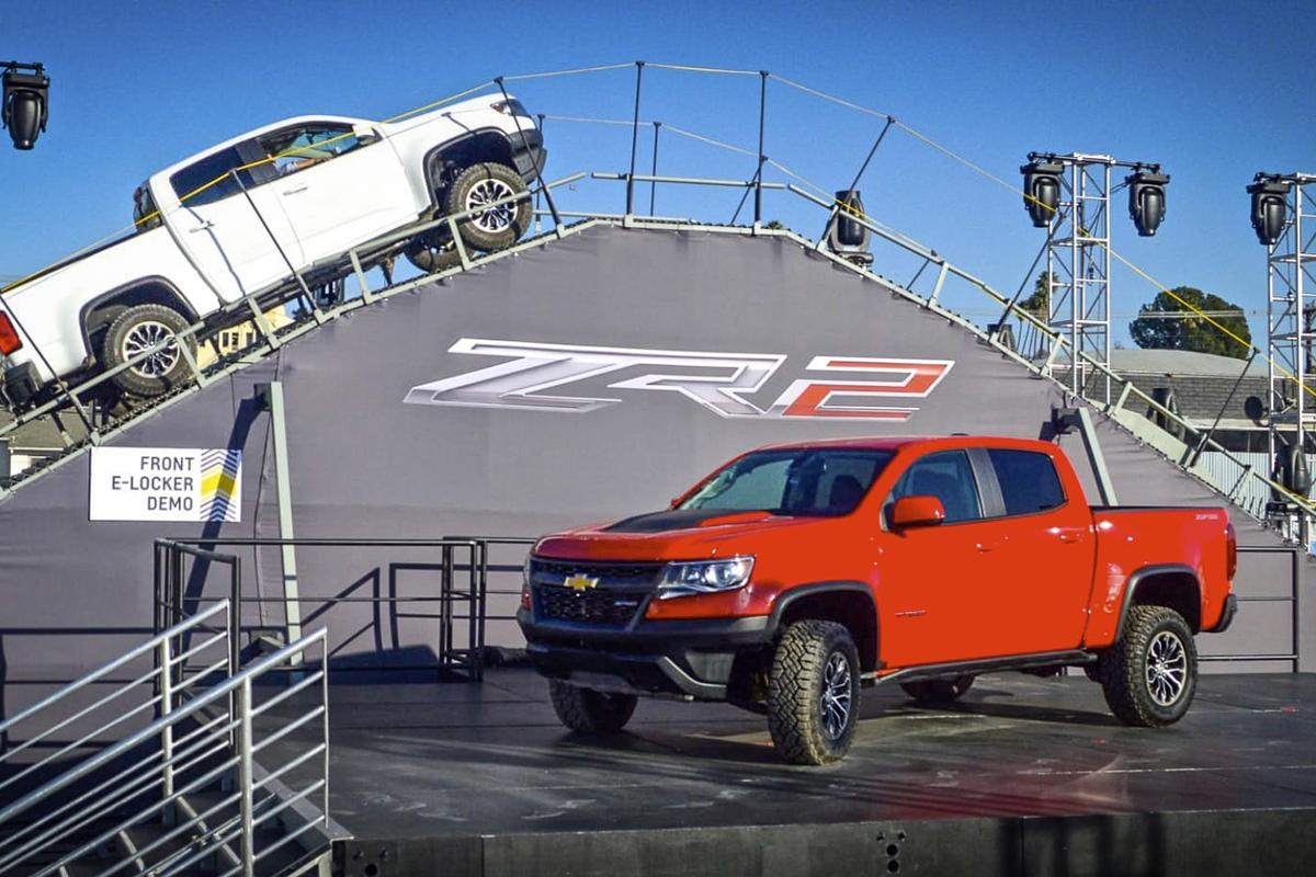 The Chevy ZR2 tackles an off-site demo course at the LA Auto Show