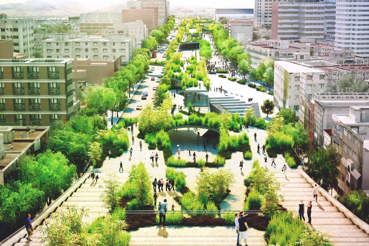 A main pedestrian promenade will run along the center of the avenue