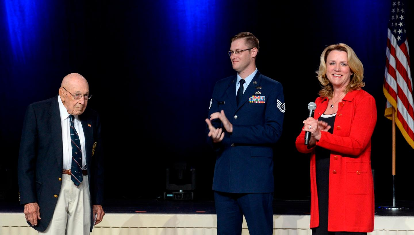 Air Force Secretary Deborah Lee James announces the name of the Air Force's newest bomber, the B-21 Raider, with the help of retired Lieutenant ColonelRichard Cole, one of the Doolittle Raiders, and TechnicalSargentDerek White