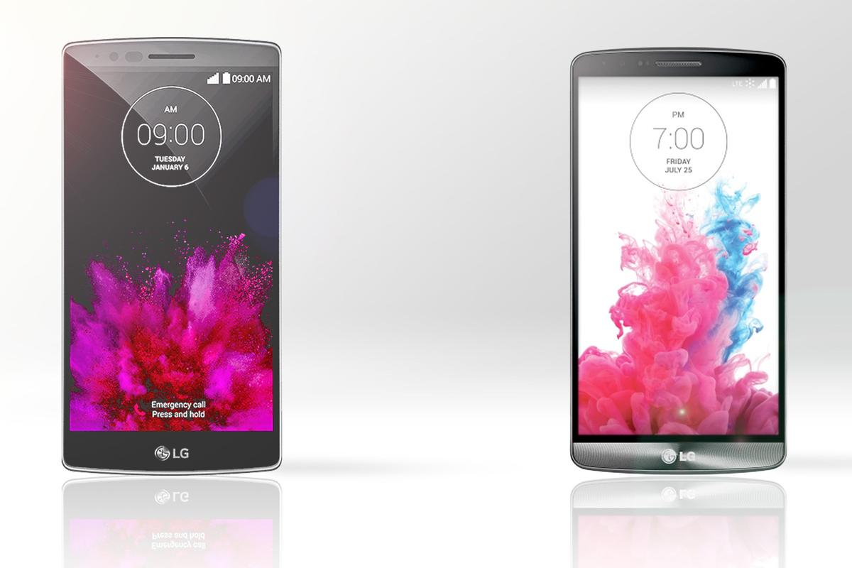 Gizmag compares the features and specs of the curved LG G Flex 2 (left) and flagship G3