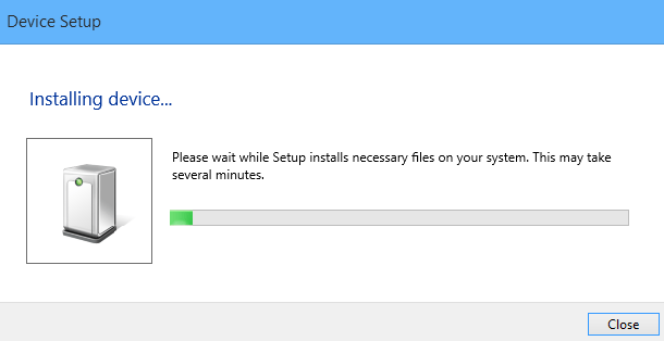 After plugging in your printer Windows 8.1 will automatically install the driver