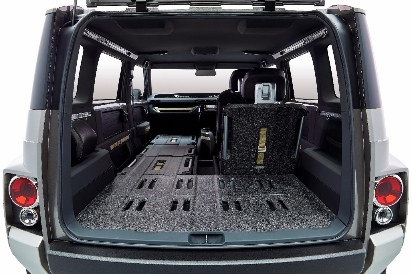 Among the Toyota Tj Cruiser's van-like features are front and rear passenger seats that can be reclined totally flat, allowing objects up to 3 m (9.8 ft) long to be stored inside