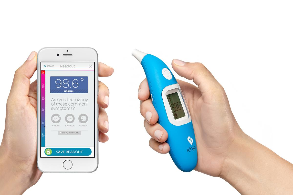 The Kinsa Smart Ear Thermometer is designed to take accurate, one-second readings