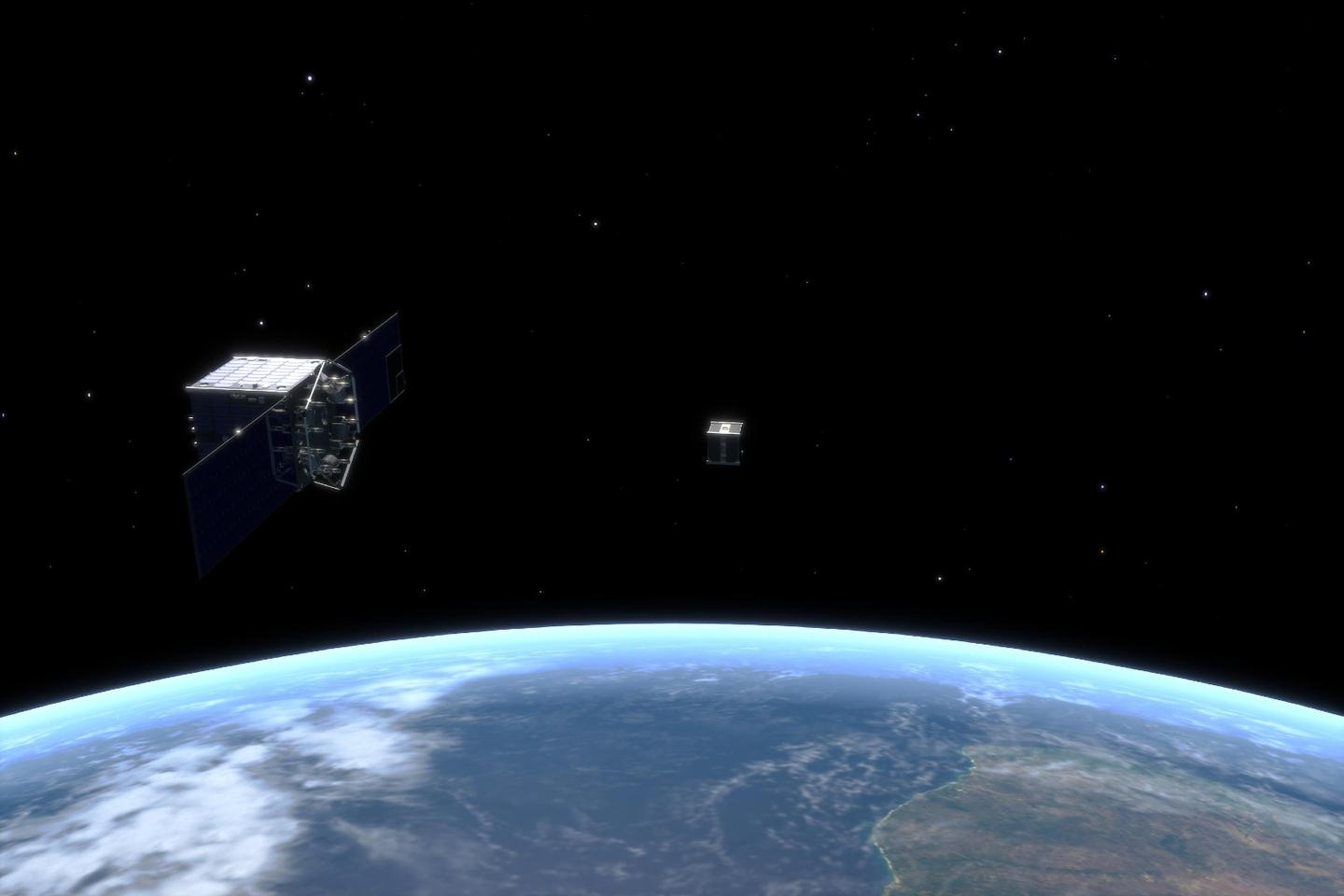 CleanSpace One approaches the SwissCube satellite