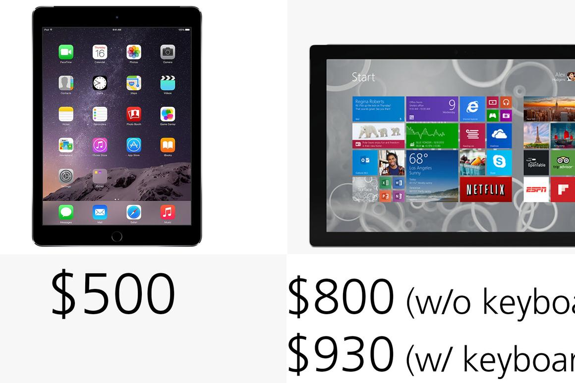 iPad Air 2 vs  Microsoft Surface Pro 3