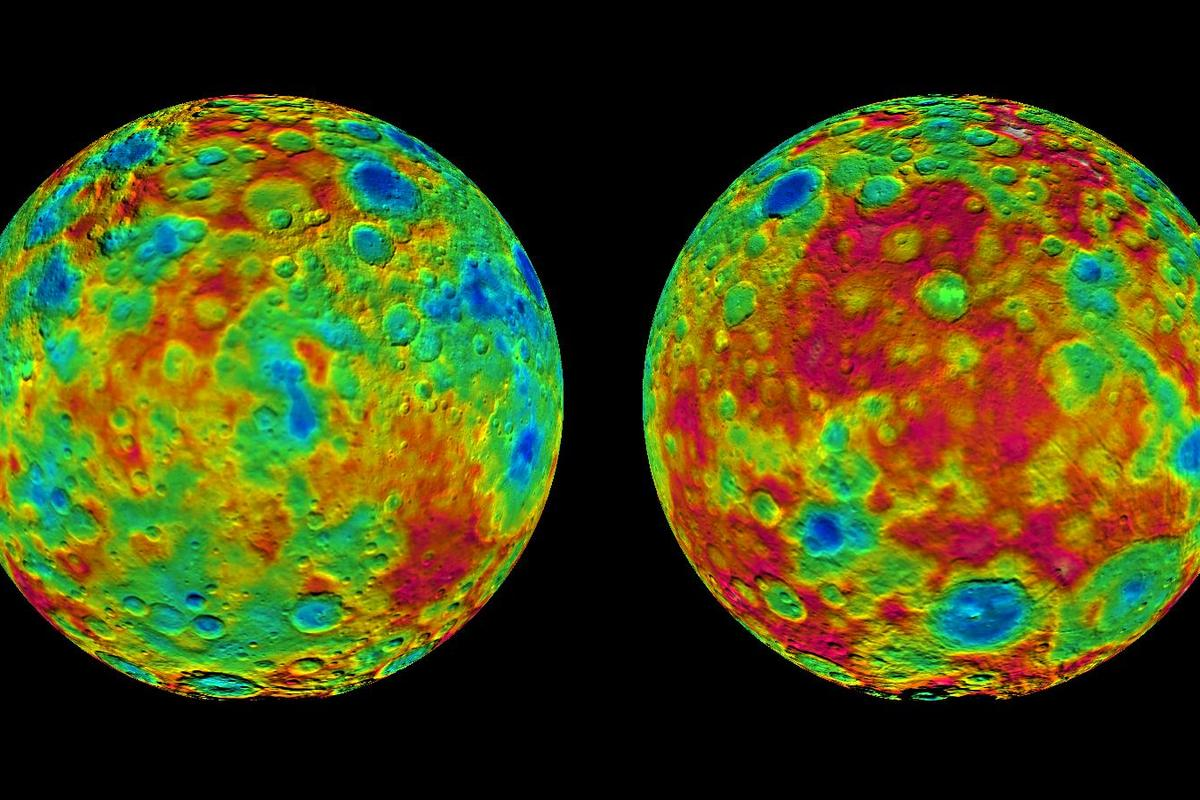 Color-coded topographic maps of Ceres East and West hemispheres