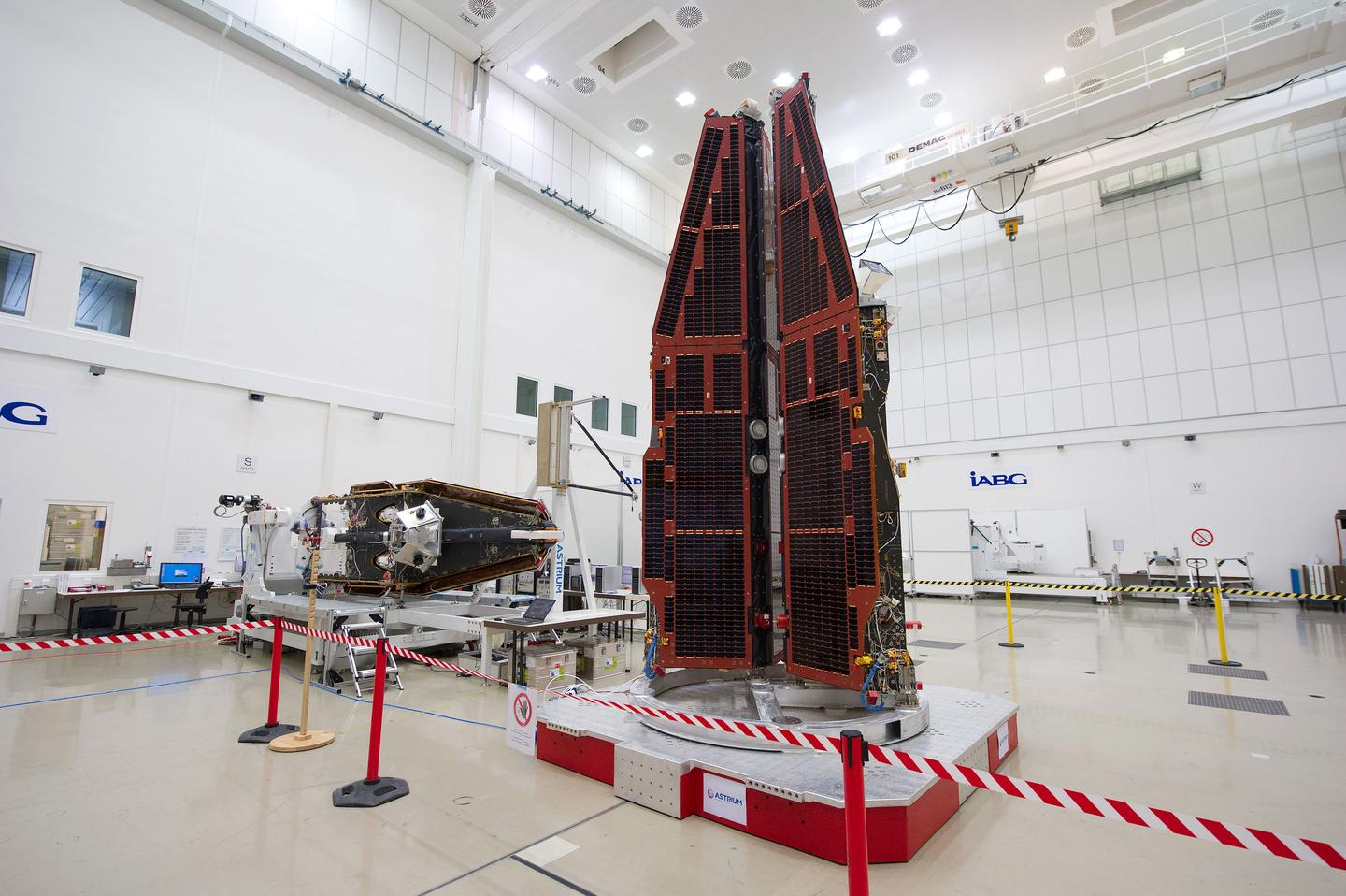 The Swarm constellation packed for launch (Photo: ESA)