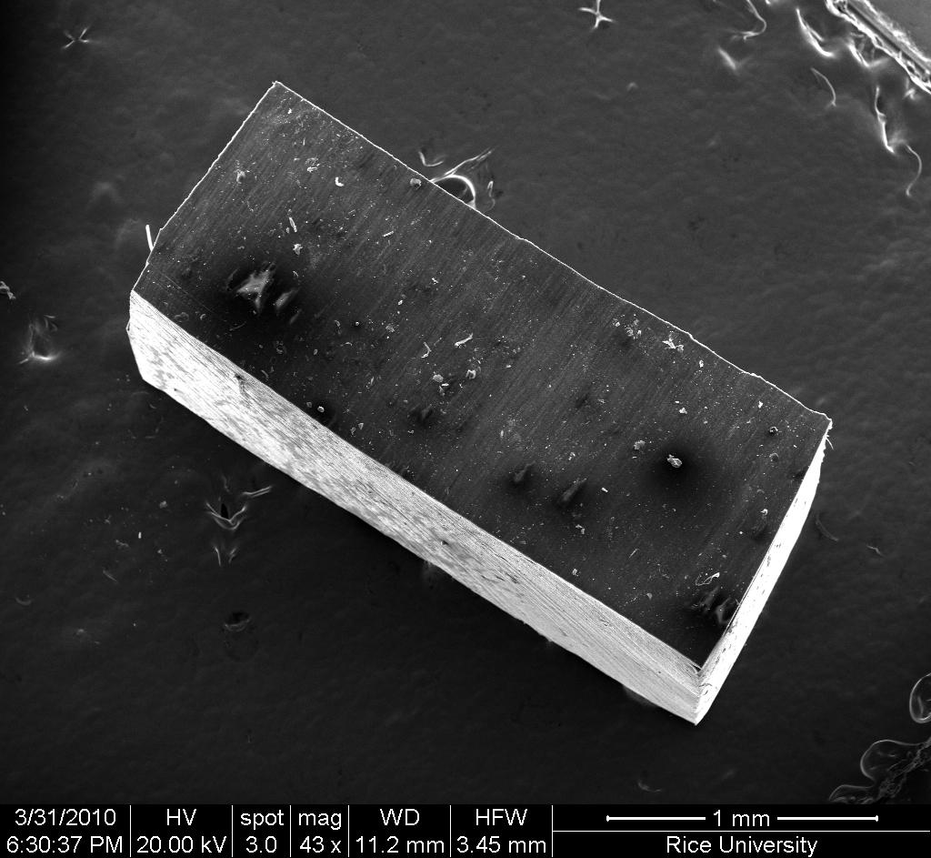 The newly-created nanocomposite material, that gets stiffer when subjected to repeated mechanical stress(Image: Ajayan Lab/Rice University)