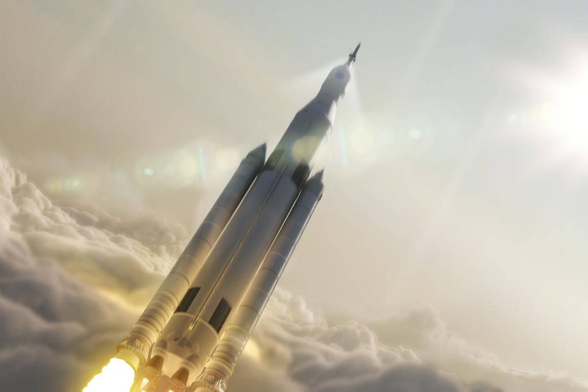 Artist's concept of the SLS in flight (Image: NASA)