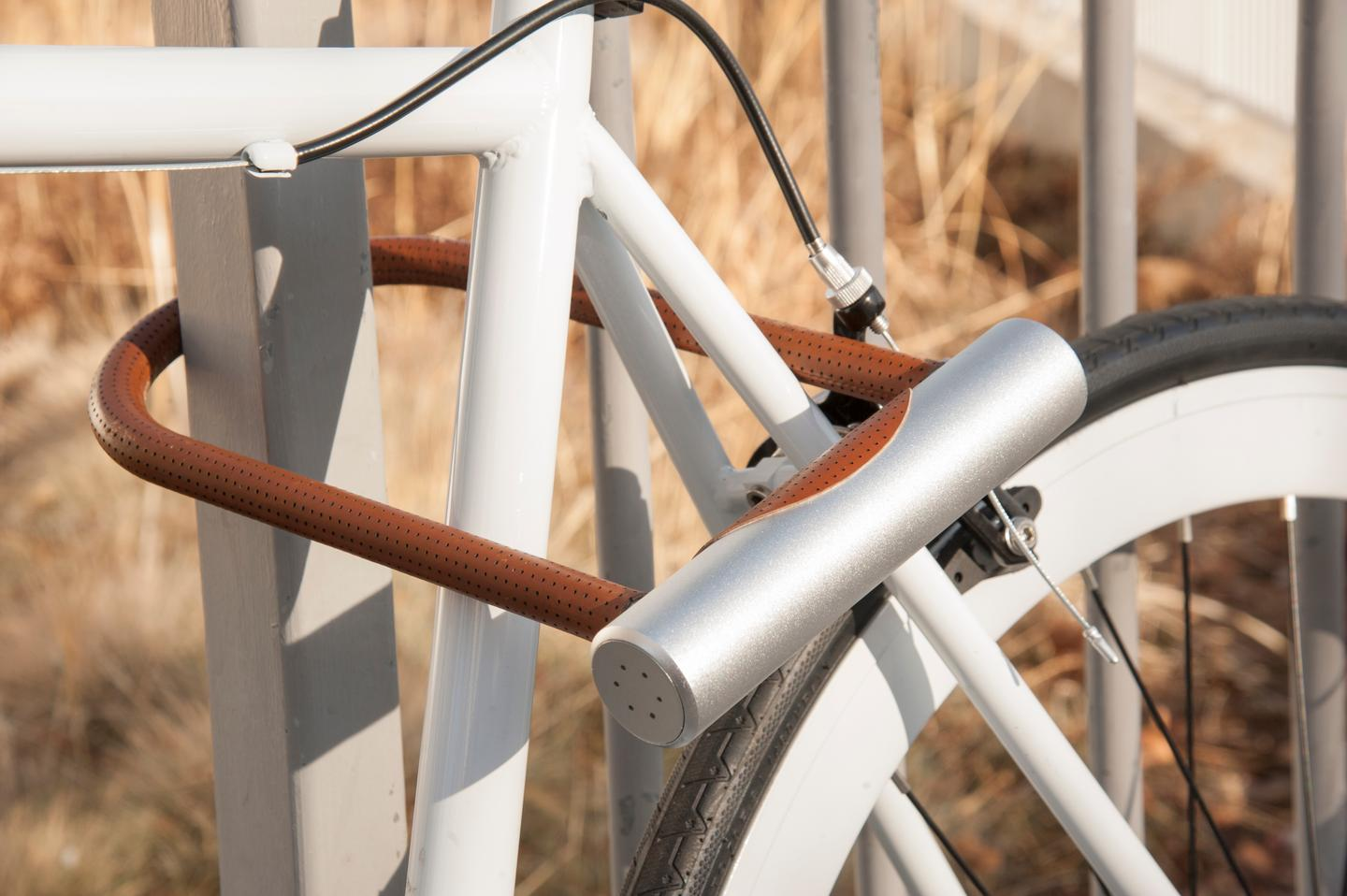 The Noke U-Lock only unlocks if the user's smartphone is within Bluetooth range