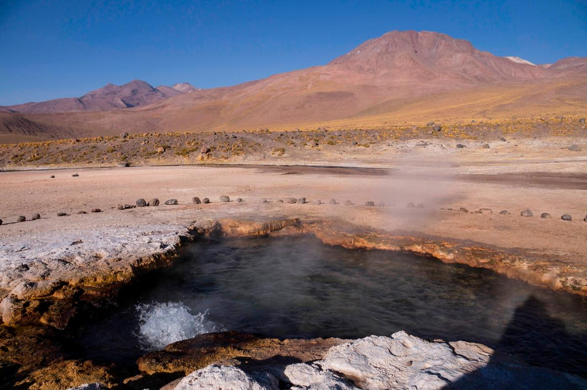 A hot spring in Chile, where some of the bacteria in the study were taken from