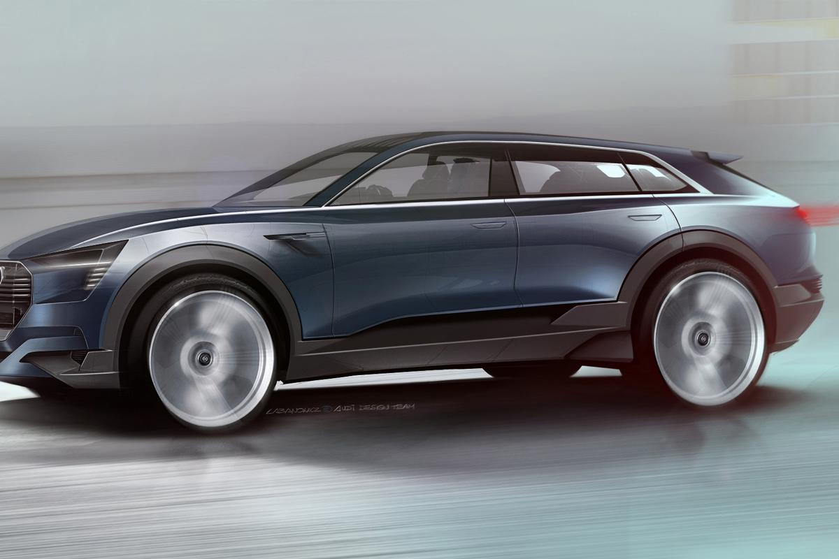 "Audi describes the design of the e-tron quattro concept as having a flat, coupe-like cabin and ""aerosthetics"""