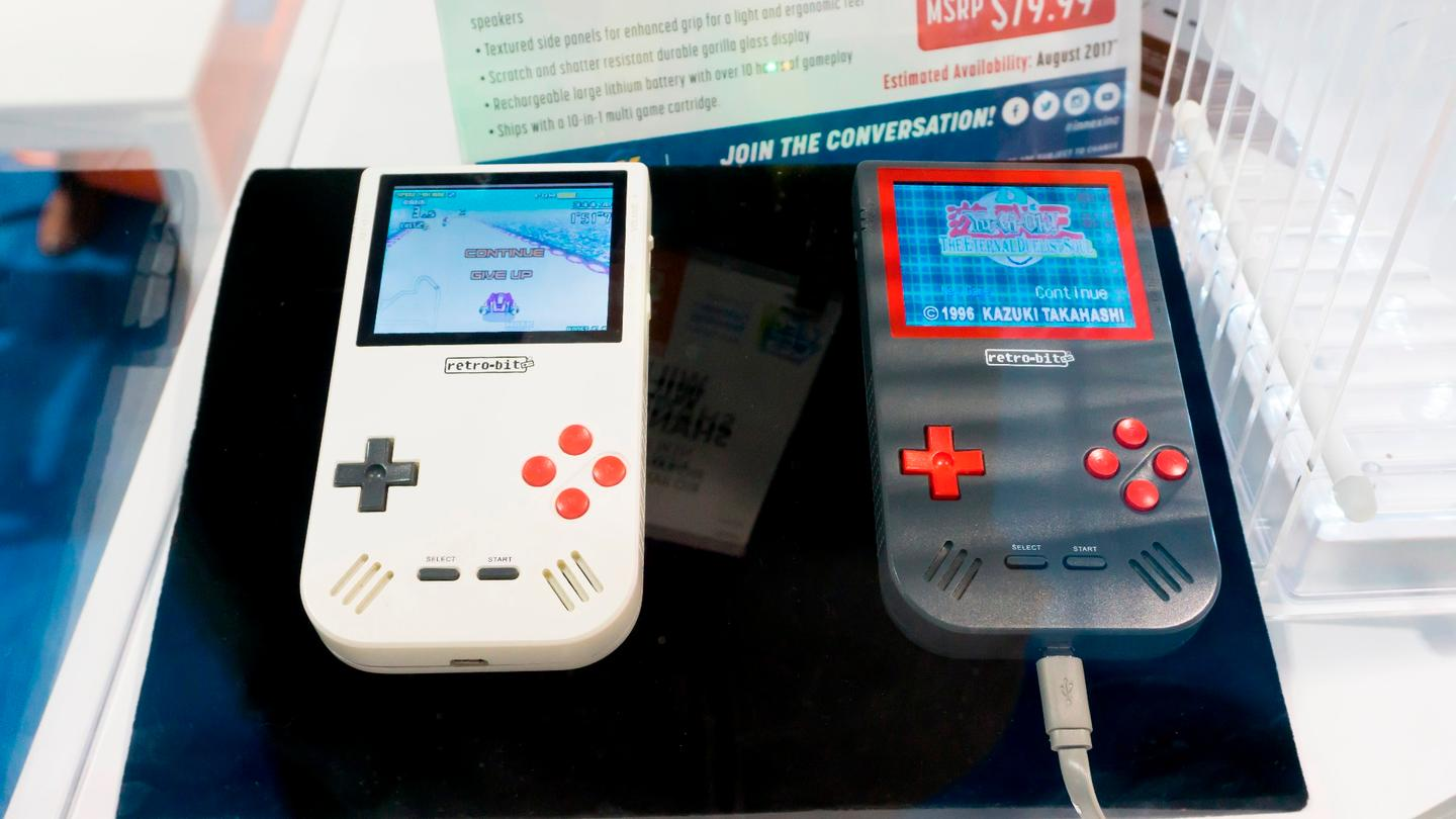 Two colors of Super Retro Boy on display at CES